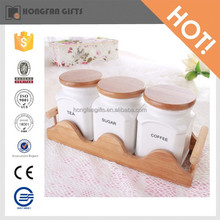 ceramic spice storage sugar jar cruet set with wooden holder