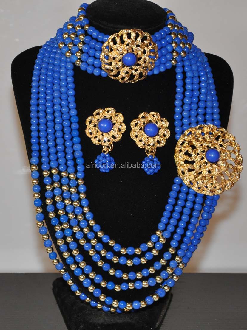 Jd001 Orange Latest African Beads Jewelry Set For Nigerian