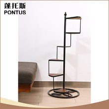 Multilayer customized wooden and iron flower pot stands