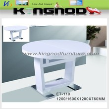 Modern extendable round dining table, MDF furniture, dining room furniture Tianjin