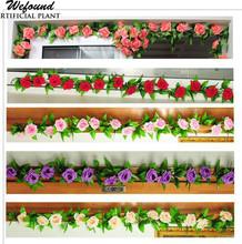 2.4m yapay gül ipek çiçek yeşil yaprak asma çelenk ev duvar parti dekor düğün çıkartma( bejler)