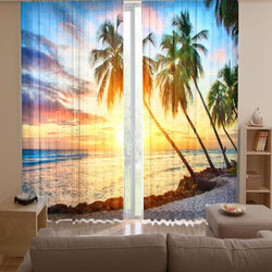 3D Scenery Blackout Digital Printing Fabric Curtains Designs