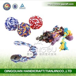 QQFactory Wholesale Natural Cotton dog rope toy / rope dog toy