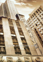 Modern canvas cityscape Oil Painting of Radio City Music Hall, New York famous building art painting for gift or wall decor