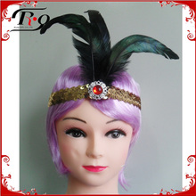 peacock feather indian party headband