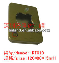 china custom tin box with apple shaped clear window