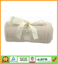 Coral fleece thick plush blanket with silk ribbon as promotion gifts