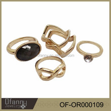 2015 new style kind of fashion gold rings set for girls