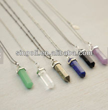 Crystal Point Long Necklace Long Chakra Crystal Pendant Necklace Natural Stone Crystal Point with Extra Long Necklace Option