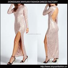China Supplier Backless Long Sleeve Maxi Dress, High Slit Sequin Maxi Dress 2015