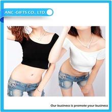 wholesale women short sleeve plain crop top custom gils t-shirt custom ladies cotton white blank crop top