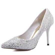 Crystal high heel bridal wedding shoes