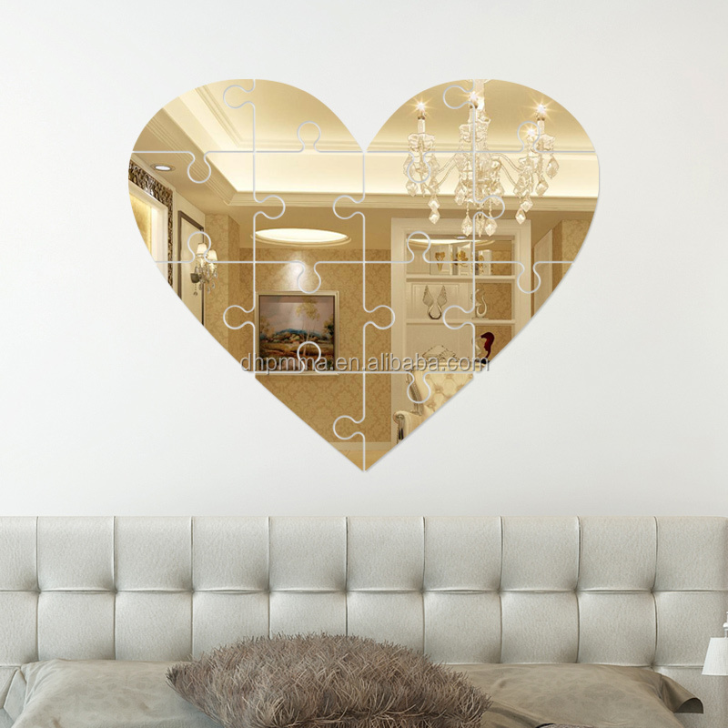 Acylic wall mirror stickers home decoration heart shape for Heart shaped decorations home