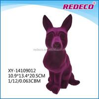 Polyresin flcoked dog figurine