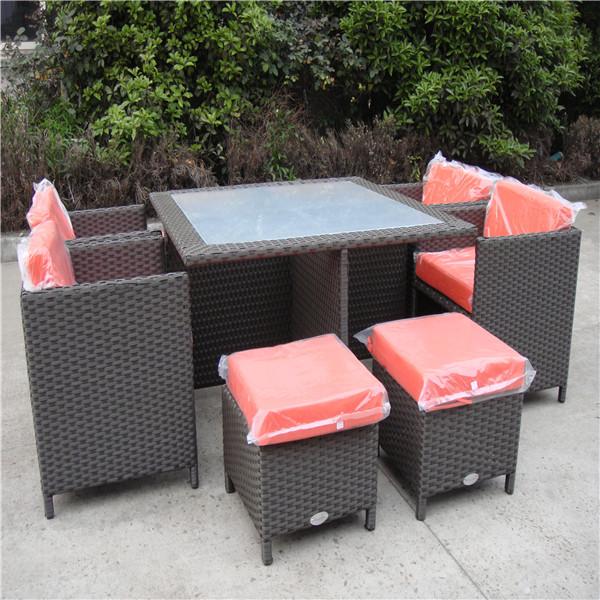 al aire libre muebles de jardín de mimbre mesa de comedor conjunto ...