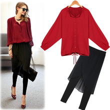 new spring fashion loose shirt collar black culottes trousers women suite 7950 Apparel lady Suits Tuxedo