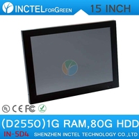 """15"""" All in One LED touchscreen POS computers with 2mm ultra-thin panel Intel Atom D2550 Dual Core 1.86Ghz CPU 1G RAM 80G HDD"""