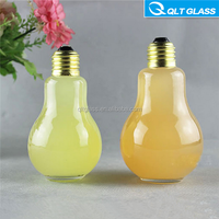 100ml 150ml 200ml 300ml electric bulb shped glass bottle for diffuser oil, with aluminume lids