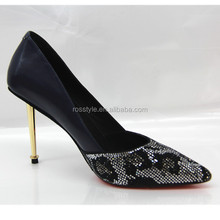 European and American style women's dress shoes new wholesale waterproof high crystal heel shoes sexy with OL