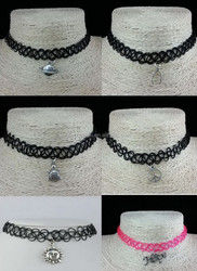 Wholesale vintage black sexy stretch hippy henna plastic tattoo choker necklace with charms pendant