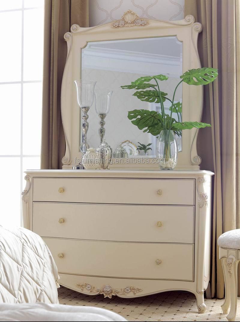 Jlb06 Luxury Antique Elegant French Ivory White Solid Wood Make Up Dresser Wi