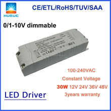 30w constant voltage 36VDC 1000mA dimmable led driver 0-10v