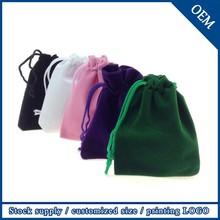 Wholesale 7x9cm Black Logo Printed Custom Velvet Jewelry Bag,Drawstring Velvet Bag