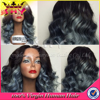 Wholesale 7A brazilian human hair grey lace front wig