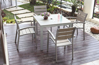 Outdoor aluminum square table set/ Garden polywood dining set/ Patio plastic wood furniture