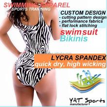 Custom design swimwear and zebra-stripe swim suit and high quality women lady sexy swimming suit Bikini
