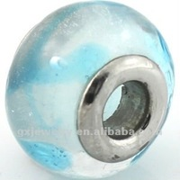 transparent stainless steel millefiori glass beads