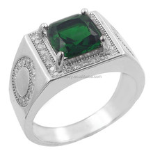 2015 new trend sterling silver emerald cz men's jewelry, silver man rings