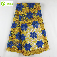 100% polyester materials yellow african cord lace swiss guipure lace fabric for wedding dress Q172