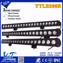 Y&T Auto parts 200w 2012 NEW arrival single row flood beam Best price led light bar For 4WD Truck