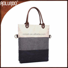 2015 new arrial multicolor shoulder leather handle canvas tote bag