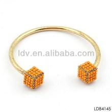 Handmade popular at high quality fashion bracelet gold plated orange gem pave cube expandable bangles