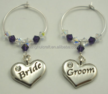 2Wine Charms Set, Wine Glass Charms, Bride and Groom Wedding Favors