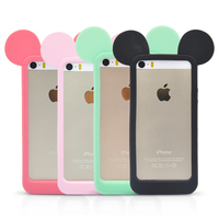 3D lovely Four colors mouse ears cartoon model Fashion silicon frame bumper for iPhone 5 5S 5G cover cases
