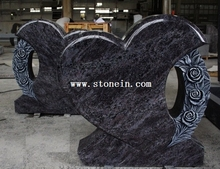 Bahama Blue Polished Heart W Flower Caving Tombstone & Monument