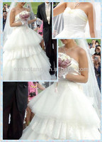 HT550 Korea style Sweetheart Strapless LaceTiered floor length wedding dresses