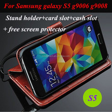Stand holder card cash slots real leather mobile phone case for samsung S5 G9006/9008