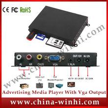 Metal shell RHOS mini 1080p media player with vga output SD CF card reader USB digital video advertising player