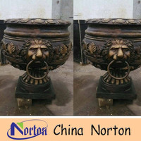 China garden metal bronze lion head flower pot NTBF-FL049S