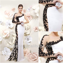 JM.Bridals CY1601 Shealth Black and White Appliques Satin elegant long sleeve evening dresses 2014