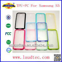 Colorful Frame Candy Color Side TPU+PC Matte Transparent Back Cover Case for Samsung Galaxy S5 SV i9600