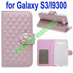 Flower Texture Wallet Style Leather Case for Samsung Galaxy S3 i9300 with Diamond Flower(Pink)