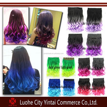 2015 new fashion 5 clips kanekalon hair weft/curly synthetic hair weaves two tone ombre rainbow color