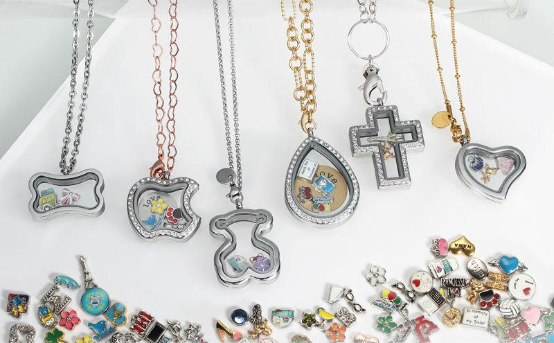 2014 nouvelle arrivée flottant charms coeur médaillon pendentif