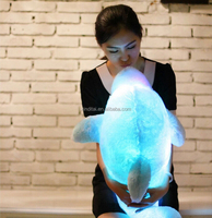 led light dolphin plush toy with repeat talking device for kids