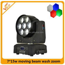 New lights 7x15w rgbw 4in1 zoom move head led stage light led moving